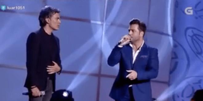 VIDEO: NANDO AGÜEROS Y DAVID BUSTAMANTE LE CANTAN A LA SANTINA EN LA TELEVISIÓN GALLEGA